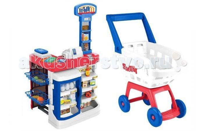 HTI СупермаркетСупермаркетСупермаркет Smart Hti с тележкой для покупок превратит детскую комнату в настоящий супермаркет! Особенно будет интересно играть вдвоем, поскольку один сможет быть продавцом, а другой - покупателем. Раскладывайте товары, выбирайте нужные продукты, расплачивайтесь на кассе - у этого набора огромный потенциал для сценариев игры в супермаркет.  Особенности: в наборе предусмотрены муляжи продуктов, с помощью которых можно научить ребенка выбирать необходимые для определенных блюд продавец, в свою очередь, должен правильно расставить товары и следить за ценниками с помощью холодильника с дверцей и полочек можно показывать ребенку правила хранения продуктов в наборе помимо кассового аппарата предусмотрен терминал и деньги с кредитной картой, что позволяет познакомить юного покупателя с различными способами оплаты игрушки изготовлены из качественных ярких материалов размер тележки (ШхВхД): 22х48х38 см размер прилавка (ШхВхД): 48х89х47 см играя с набором, ребенок будет развивать словарный запас, примерит новые для себя роли  Комплектация: электронные весы холодильник-витрина муляжи продуктов - 13 шт. деньги, карточки стойка и тележка<br>