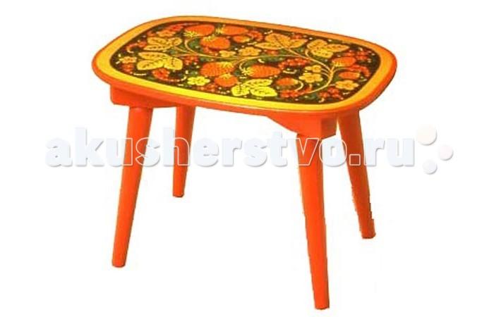 Столы и стулья Хохлома Скамейка овальная с хохломской росписью ягода/цветок
