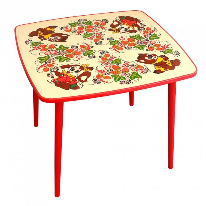 Детские столы и стулья Хохлома Стол квадратный Осень с росписью зверьки (высота 52 см)