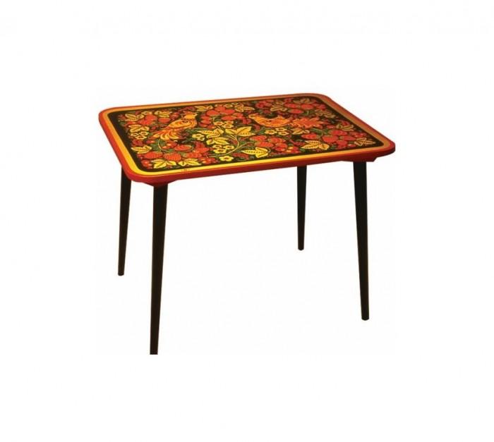 Детские столы и стулья Хохлома Стол малый Детство с хохломской росписью ягода/птица