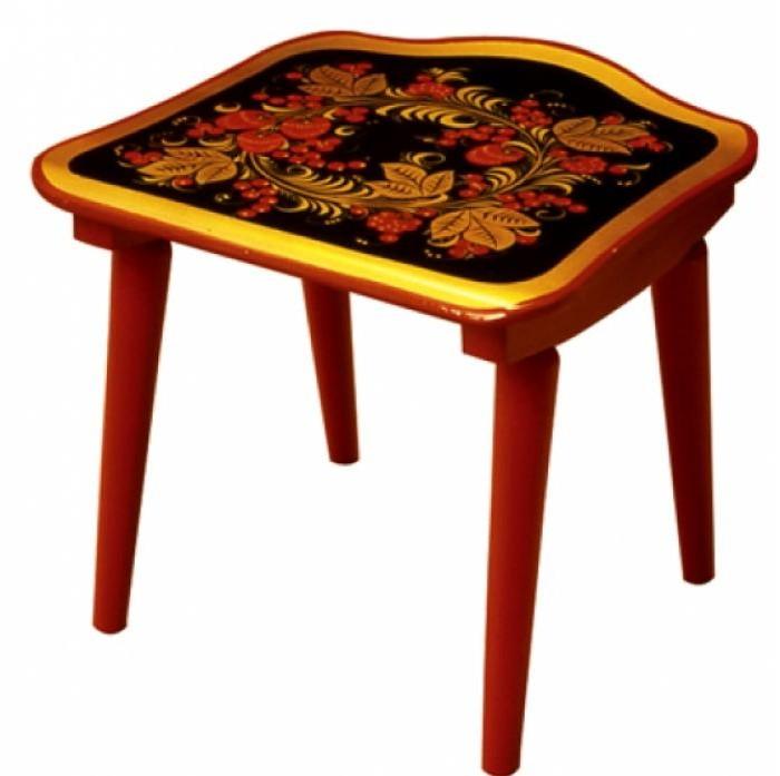 Купить Детские столы и стулья, Хохлома Табурет с хохломской росписью ягода/цветок