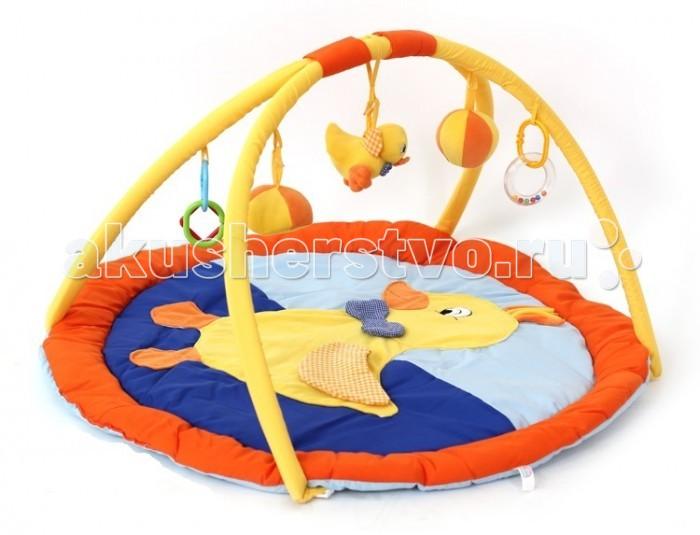 Развивающий коврик Elefantino Утенок 80х60 смУтенок 80х60 смElefantino Развивающий коврик Утенок 80х60 см 7863  Развивающий коврик Elefantino - мягкое, безопасное и уютное место для игр и развития малыша.    Особенности:  - 2 дуги для крепления игрушек  - на поверхности коврика аппликация в виде утенка  - коврик круглой формы выполнен из различных по фактуре материалов  - в комплект входит 5 погремушек   - шуршащие элементы   Польза для развития: - различные фактурные материалы коврика разнообразят тактильные ощущения малыша  - развивается цветовосприятие и слух  - тренируется координация движений и мелкая моторика<br>