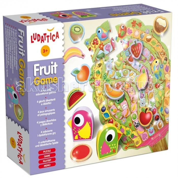 Ludattica Игра настольная Фрукты (4 в 1) 47086Игра настольная Фрукты (4 в 1) 47086Ludattica Игра настольная Фрукты (4 в 1) 47086 не оставит равнодушным Вашего ребенка.  Детям сначала нужно собрать пазл-дерево. Затем вступить в соревнование, кто больше фруктов соберет. Эта игра включает в себя задания, которые стимулируют развитие логики, эмоций, памяти, мелкой моторики, воображения.  В комплекте: 30 элементов с изображением фруктов, 5 деревянных птиц.<br>