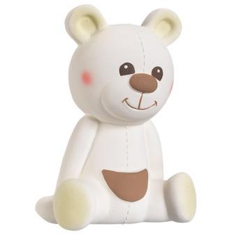 Развивающая игрушка Vulli Медвежонок Габэн 200322Медвежонок Габэн 200322Медвежонок Габэн – уникальная развивающая игрушка от производителя каучуковых игрушек №1 в мире, компании Vulli. Благодаря участию в разработке игрушки ведущих французских педиатров, игрушка не только поможет малышу снять зуд с воспаленных десен, но и будет способствовать развитию 5 органов чувств ребенка!  Осязание: мягкая поверхность SOFT TOUCH специально разработана для стимулирования осязания. Прикасаясь к игрушке малыш чувствует материал особой текстуры, который на подсознательном уровне напоминает ему нежную мамину кожу и успокаивает малыша, развивает тактильные ощущения. Стимулирование осязания крайне важно для ребенка – оно является основой для развития речи и способности выражать мысли в более позднем возрасте.  Зрение: Контрастные цветные элементы на теле медвежонка научат малыша различать цвета, фокусировать зрение на мелких объектах разных форм и разовьют внимание, что поможет малышу успешнее познавать окружающий мир в дальнейшем.  Слух: при нажатии на медвежонка Габэна, малыш услышит писк и будет учиться понимать причинно-следственную связь между действием (нажатием) и звуком. Мир звуков стимулирует поисковый рефлекс у ребенка, побуждающий изучать окружающий мир. Развитие поискового рефлекса крайне важно, ведь именно благодаря ему малыш учится принимать первые решения.  Моторика и координация: Форма, плотность, выступающие части – были специально разработаны для массажа ладошек малыша. Играя с медвежонком Габэном, малыш будет стимулировать развитие нервных окончаний на кончиках пальцев и ладошках, научится хватать и сжимать окружающие предметы – разовьет хватательный рефлекс. Стимулирование нервных окончаний необходимо для развития нервных центров по всему телу малыша, особенно у мальчиков.  Обоняние: натуральный аромат каучука стимулирует органы обоняния – малыш научится отличать Габэна от других игрушек. Умение различать и удерживать в памяти образы окружающих предметов и их запах