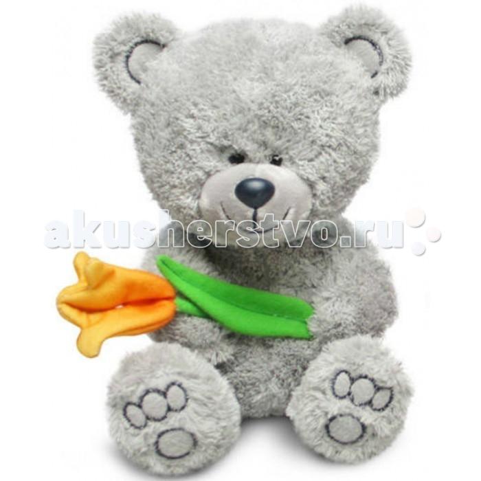 Мягкая игрушка Lava Медвежонок Ники с тюльпаном 22 см