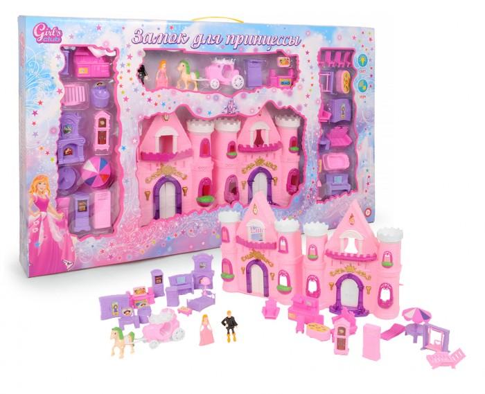 Girls Club Замок для принцессы с аксессуарами 8522/GCЗамок для принцессы с аксессуарами 8522/GCЗамок для принцессы с входящими в набор аксессуарами, это настоящий небольшой замок в розовом цвете с фигурками принца и принцессы, лошадью с каретой и большим набором необходимой мебели для благоустройства королевской четы в своих апартаментах.  Замок оснащен световыми и звуковыми эффектами, батарейки для них входят в комплект (2 шт. AА).   Сам замок и все элементы набора выполнены из безопасного для детей материала, благодаря ему каждая девочка сможет создать свое королевство и воплотить фантазии в реальную сюжетно-ролевую игру.<br>