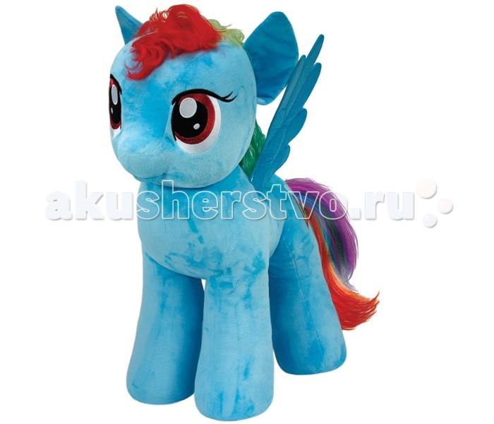 Мягкая игрушка My Little Pony Пони Rainbow Dash 76 смПони Rainbow Dash 76 смПони Rainbow Dash 76 см - очаровательная мягкая игрушка из новой коллекции My little Pony. Ваш ребенок непременно подружиться с радужной и смелой пони.   Пони-пегас Рэинбоу Дэш — неизменный лидер и заводила, которой по плечу любые испытания! Рэинбоу известна своим боевым, храбрым характером и способностью выручать своих друзей в трудную минуту. Ее обязанность — следить за состоянием неба в Понивиле, и она успешно разгоняет тучи, когда возникает такая необходимость. Еще Рэинбоу Дэш — известная спортсменка и тренер команды пегасов, которая отлично выступает на разных соревнованиях в Эквестрии. Никто не сравнится по скорости с шустрой Рэинбоу!  Игрушка мягкая и приятная на ощупь, большие красивые глаза и знак отличия вышиты, грива выполнена из искусственных волос.  Пони Rainbow Dash 76 см станет не просто игрушкой, но и милым дополнением к декору любой детской комнаты.  Из чего сделана игрушка (состав): ткань, пластик, искусственный мех, синтепон. Высота игрушки: 76 см. Вес: 3.5 кг.<br>