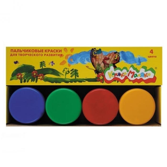 Краски Каляка-Маляка Краски пальчиковые 110 мл 4 цвета пальчиковое рисование