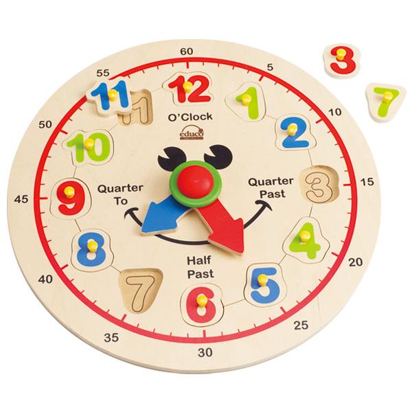 Деревянная игрушка Hape пазл Счастливые часы Е1600