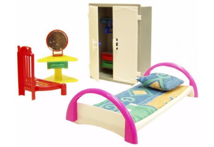 Кукольные домики и мебель Форма Набор мебели Спальня одним прекрасным утром спальня кровать с подушкой и матрасом коричневый