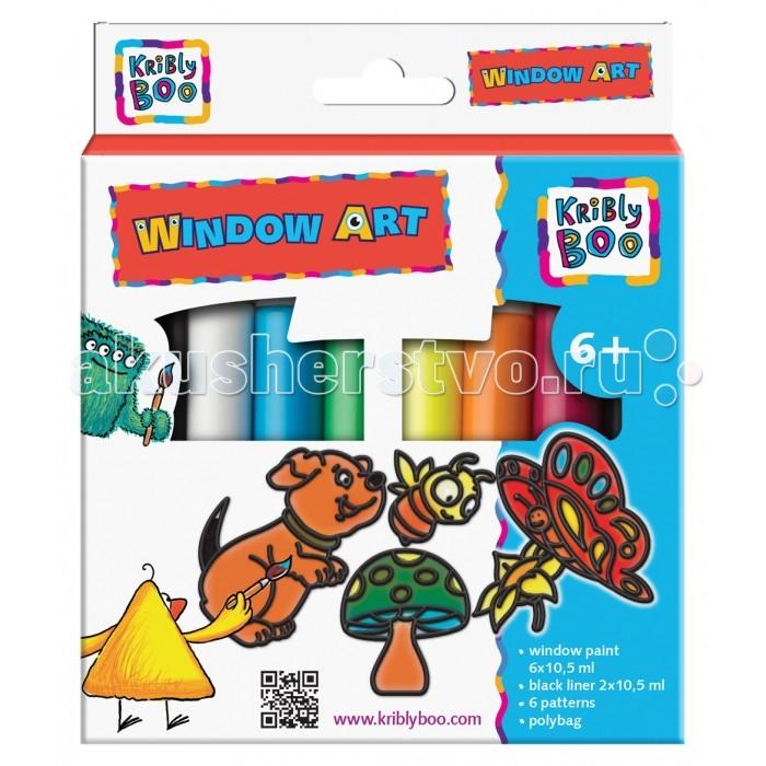 Краски Kribly Boo Набор Window Art c трафаретами kribly boo набордляраскрашивания