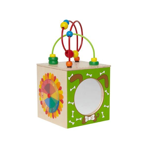 Деревянная игрушка Hape Активный куб-лабиринт Е1802Активный куб-лабиринт Е1802Спираль-лабиринт помогает развивать мелкую моторику и восприятие цветов. Разноцветные счеты помогут малышу научиться считать.  Циферблат в форме цветка научит малыша определять время. Зеркальце в форме собачки повеселит малыша, научит отличать себя от других. Панель с рыбкой поможет развить малышу мелкую моторику и координацию пальчиков.<br>