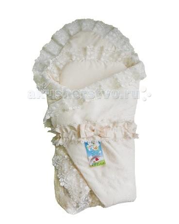 Soni Kids Конверт-одеяло с подушечкойКонверты на выписку<br>Конверт-одеяло сатиновое кружевное с подушечкой.  Состав: 100% высококачественный хлопок.  Наполнитель: холлофайбер антиаллергенный. Размеры:110*140.   Конверт упакован в подарочную коробку.
