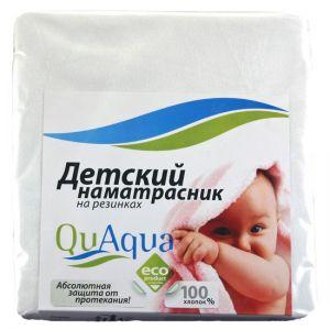 Qu Aqua Непромокаемый наматрасник на резинках по углам фланель 120х60