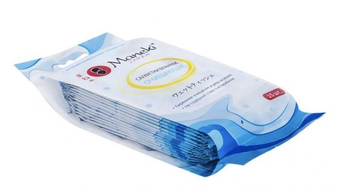Салфетки Maneki Влажные салфетки Kaiteki антибактериальные очищающие в индивидуальной упаковке 15 шт.