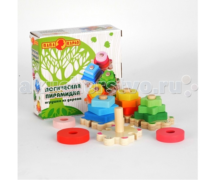 Деревянные игрушки Папа Карло Пирамидка логическая