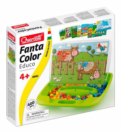 Мозаика Quercetti Мозаика Фантастические цвета с обучающими карточками, Мозаика - артикул:25553