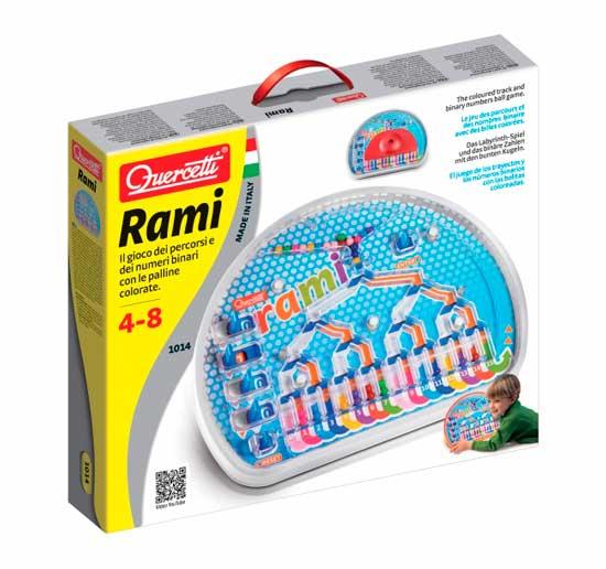 Quercetti Настольная игра РамиНастольная игра РамиQuercetti Настольная игра Рами - позволит ребенку выучить двоичные числа, на основе которых работают все наши компьютеры. Для увеличения сложности можно закрыть поле с рычагами специальным экраном и переключать рычаги по памяти. Сделайте игру интереснее, устроив соревнования на время между членами семьи и друзьями. Игра развивает зрительную моторику и память, координацию, логику, ловкость, реакцию и самоконтроль   Цель игры: переключайте рычаги, таким образом, чтобы цветные шарики попадали в поле с соответствующим цветом. Проведите шарик через все ответвления и препятствия.<br>