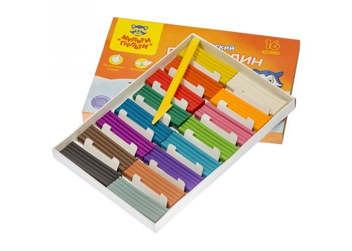 Всё для лепки Мульти-пульти Пластилин со стеком Енот на Аляске 16 цветов 240 г пластилин детский классика 16 цветов 20с 1329 08