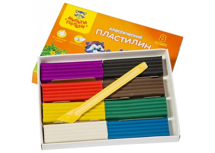 Всё для лепки Мульти-пульти Пластилин со стеком Приключения Енота 8 цветов 160 г всё для лепки мульти пульти пластилин со стеком приключения енота 16 цветов 320 г
