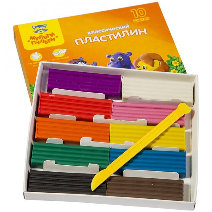 Всё для лепки Мульти-пульти Пластилин со стеком Приключения Енота 10 цветов 200 г всё для лепки мульти пульти пластилин со стеком приключения енота 16 цветов 320 г