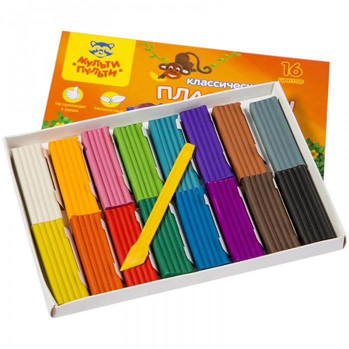 Всё для лепки Мульти-пульти Пластилин со стеком Приключения Енота 16 цветов 320 г пластилин детский классика 16 цветов 20с 1329 08