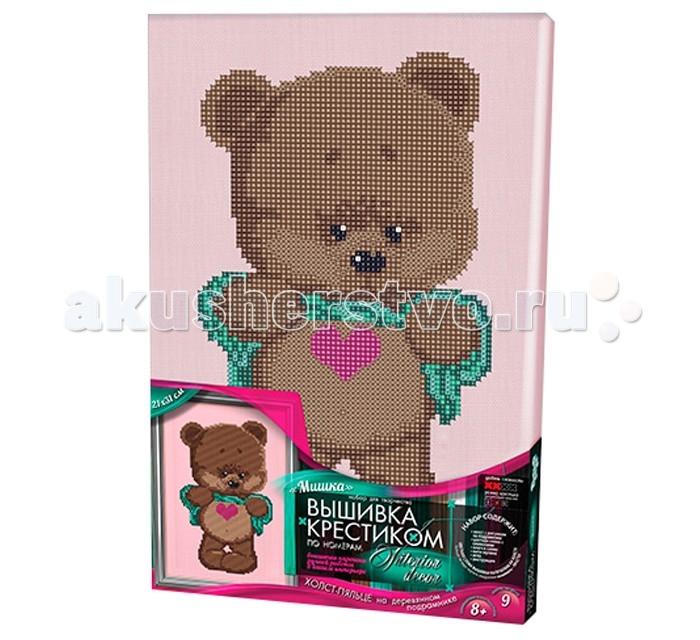 Наборы для вышивания Danko Toys Набор творчества Вышивка крестиком по номерам на подрамнике Мишка