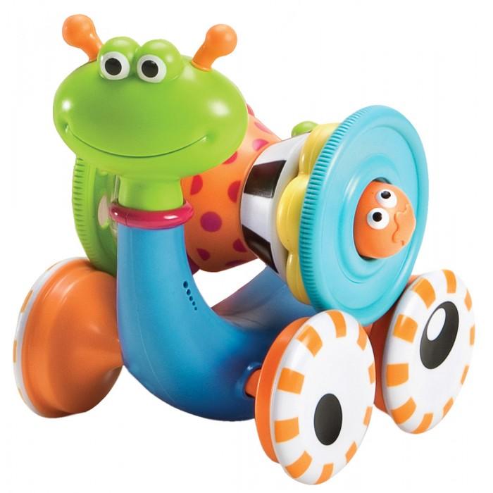Yookidoo Улитка 40113Улитка 40113Панцирь представляет собой развивающую пирамидку, состоящую из нескольких разноцветных колец и столбика с глазками, при нажатии на который раздается звук. Музыкальная игрушка Улитка развивает слух, логическое мышление, воображение, мелкую моторику рук, память и внимание.  Особенности: Развивающая игрушка «Музыкальная улитка» с вращающимся панцирем. Работает на батарейках. Панцирь снимается и превращается в пирамидку из 7 блоков. Игрушка предназначена для детей от 6 месяцев. Побуждает ребенка ползать и способствует развитию мелкой моторики  Размер 24.5 * 17.5 * 24.5<br>