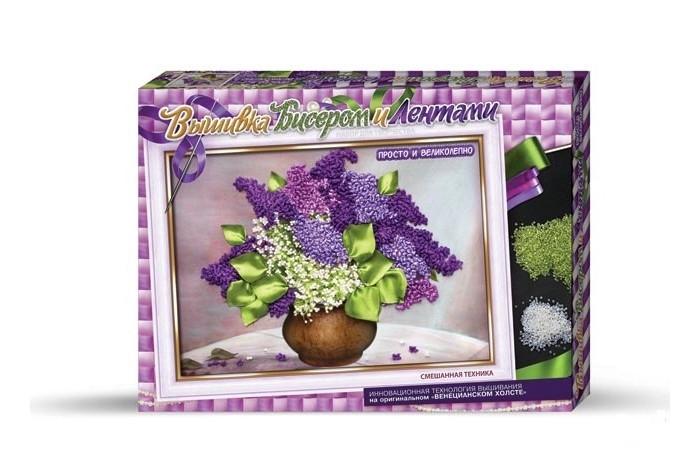 Купить Наборы для вышивания, Danko Toys Набор для творчества Вышивка бисером и лентами Сирень