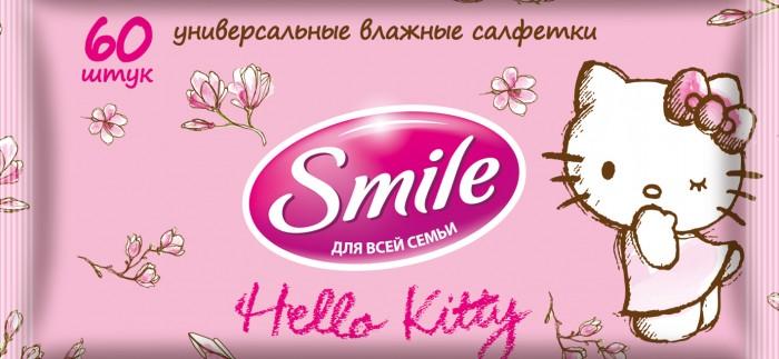 Салфетки Smile Салфетки влажные Hello Kitty 60 шт. cxzyking 20cm sweet new kt cat hello kitty plush toys cute hug mushroom hello kitty kt cat pillow dolls for kids baby girl gift