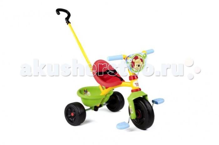 Велосипед трехколесный Smoby Be Move WinnieBe Move WinnieТрехколесный велосипед Smoby Be Move Winnie   Если ваш малыш уже начал ходить и самостоятельно осваивать пространство, то непременно приобретите для него трехколесный велосипед Be Move Winnie от компании Smoby, которая отлично зарекомендовала себя на рынке детских товаров. Этот трехколесный велосипед обладает большим функционалом и трансформируется по мере роста крохи.   Пока малыш не овладеет навыками езды на велосипеде, родители могут катать ребенка, используя удобную съемную ручку, которая регулируется так же по высоте.  Трехколесный велосипед Be Move Winnie выполнен в ярком красочном дизайне в стиле мишки Винни, которого обожают абсолютно все детки и мальчики, и девочки.  При изготовлении велосипеда используется экологически чистый и особо прочный пластик, а также металл и резина.   Особенности:   прочная металлическая рама;  комфортное сидение эргономической формы, регулируемое в трех положениях (ближе-дальше);  съемные трехточечные ремни безопасности;  регулируемый по высоте руль;  во время использования родительской ручки – блокируется движение руля, и педалей;  рифленые нескользкие педали;  колеса изготовлены из пластика;  объемная багажная корзинка, опрокидывающаяся путем нажатия;  максимальная нагрузка - 20 кг.  Родительская ручка не управляет поворотом руля.   Катание на велосипеде развивает у ребенка координацию движений, укрепляет мышцы ног, учит ориентироваться в пространстве, формирует начальные навыки вождения.  Размеры велосипеда (вxдхш): 68х52х52 см. Вес: 4,65 кг.<br>