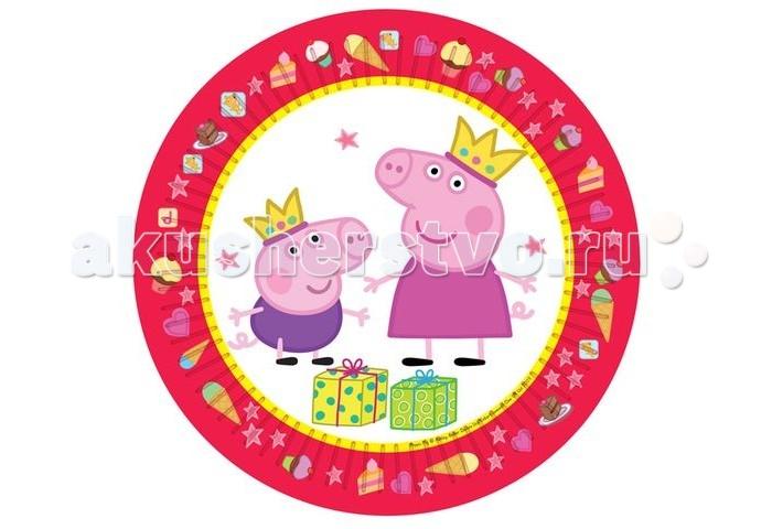 Товары для праздника Росмэн Тарелка Пеппа Принцесса 23 см 6 шт. стаканы бумажные peppa pig пеппа принцесса 220 мл 6шт