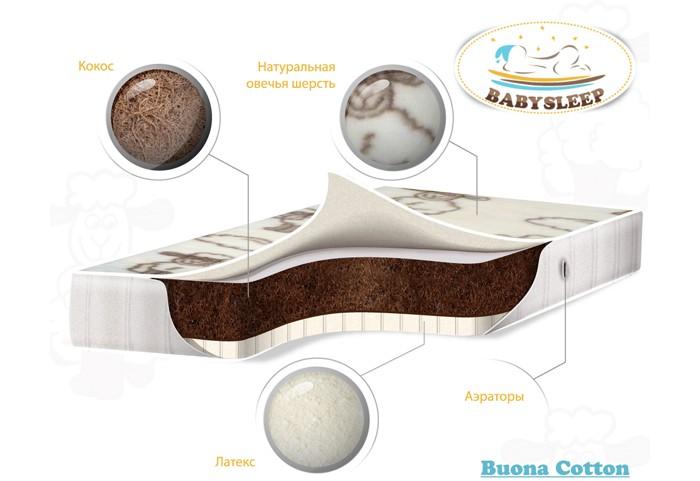 Матрас Babysleep премиум класса Buona Cotton 125x65премиум класса Buona Cotton 125x65Матрас Babysleep премиум класса Buona Cotton – это сочетание полувекового опыта европейской педиатрии для здорового сна с последним словом инновационных технологий.   Особенности: Съемный двусторонний чехол на молнии BabySleep имеет летнюю и зимнюю стороны.   Летняя сторона выполнена из особо прочного хлопкового жаккарда фабрики Stellini (Италия) с высокой плотностью плетения нити. Ткать имеет гипоаллергенную и антистатическую пропитку. Зимняя сторона – натуральная овечья шерсть фабрики Cafissi (Италия).   Шерсть мериноса – тонкорунная, обладает высокой гигроскопичностью и эластичностью, материал из этой шерсти длительное время сохраняет объем. Благодаря воздушным прослойкам в ткани ребенок защищен от проникновения холода и избытка тепла во время сна. Шерсть мериноса также обладает противовоспалительными свойствами. Неповторимый принт на ткани порадует и малыша, и маму.  В матрасах BabySleep Buonа Cotton используются экологически чистые кокосовые плиты голландского концерна ENKEV. Кокосовая койра – натуральный материал, состоящий из спрессованных волокон кокосовой пальмы. В матрасах BabySleep используется кокосовая койра с длиной волокон не менее 7 см и латексной пропиткой, что существенно увеличивает долговечность и упругость изделия.   Кокосовая койра придает матрасу жесткость, обеспечивает естественную вентиляцию, гигиеничность и гипоаллергенность. В ее состав входит полимер лигнина, благодаря которому койра не впитывает воду, не поддается гниению и не электризуется.  Латекс фабрики GommaGomma (Италия) – природный пористый материал, производимый из вспененного сока каучукового дерева гевеи. В результате специальной обработки латекс приобретает микропористую структуру, подобную строению пчелиных сот, с заполненными воздухом ячейками.   Благодаря высокой эластичности латекс идеально адаптируется к форме тела во время сна. В отличие от искусственного продукта, натуральный латекс обе