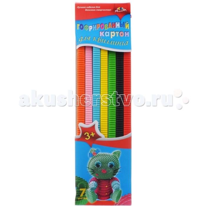 Канцелярия Апплика Цветной картон для гофроквиллинга 7 цветов обложка Кошечка для цветов