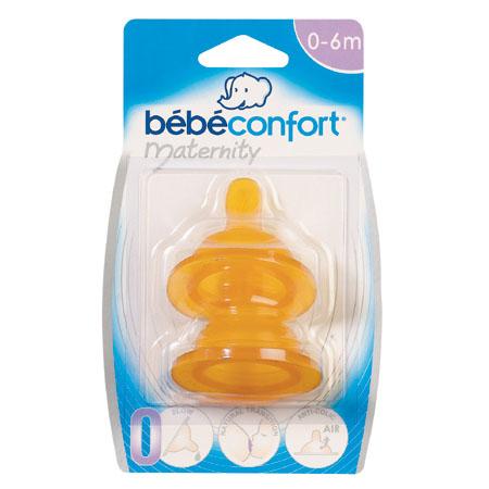 Соски Bebe Confort из латекса для бутылочек с широким горлышком 2 шт. 6-24 мес.