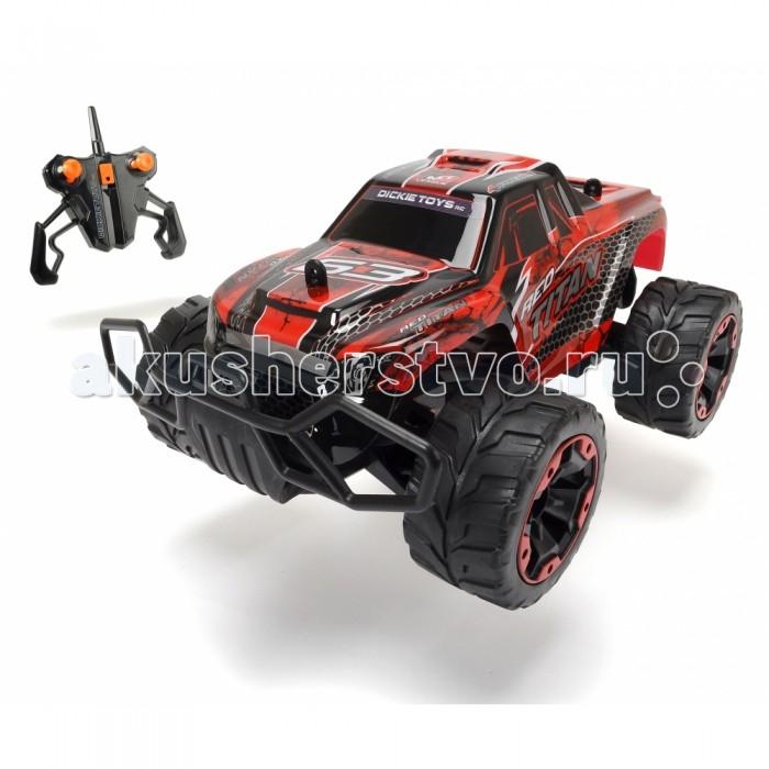 Dickie Машинка на радиоуправляемая Red Titan 1:16 29 смМашинка на радиоуправляемая Red Titan 1:16 29 смDickie Машинка на радиоуправляемая Red Titan 1:16 29 см - это уменьшенная модель внедорожника с мощным бампером, ударопрочным корпусом и огромными колесами.   Особенности: Машинка в длину составляет почти 30 сантиметров и имеет оригинальный дизайн. Красный титан имеет огромные колеса, которым подвластны любые дороги и не страшны никакие препятствия.  Необычным пультом управления очень легко пользоваться, а машинка развивает скорость до 10 км/ч. Пульт и машинка работают от батареек. Особенностью данного игрушечного автомобиля является система защиты от грязи, пыли и воды. Мощный внедорожник готов померяться силами с любыми природными условиями, преодолев и грязные лужи, и пыльные дороги, и каменные тропы, и снежный занос. Игрушка наверняка порадует не только детей, но и взрослых любителей радиоуправляемых машинок. Максимальный коэффициент усиления антенны: 3 дБ. Мощность: не более 10 мВт. Разнос каналов: 50 кГц<br>