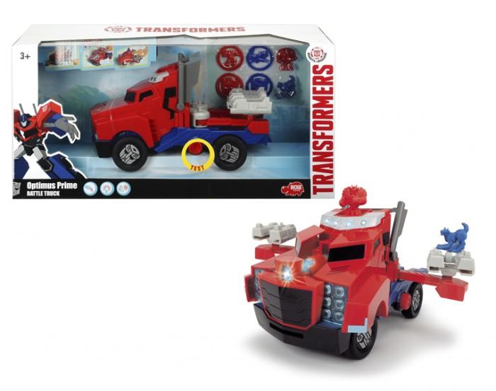 Dickie Трансформеры Боевой трейлер Optimus Prime 23 см (свет и звук)Трансформеры Боевой трейлер Optimus Prime 23 см (свет и звук)Dickie Трансформеры Боевой трейлер Optimus Prime со светом и звуком 23 см   Оптмус Прайм известен детям как герой мультфильма «Роботы под прикрытием», а также как лидер автоботов, который ведет команду за собой и всегда готов прийти на помощь другу. Этот яркий трейлер в точности повторяет его автомобильную внешность, которую он использует для погони за злодеями, за мгновение превращаясь в быстрый грузовик.  Особенности: Яркая машинка напоминает одного из персонажей популярного детского мультсериала «Роботы под прикрытием» - трансформера Бамблби. В этот раз он предстает в образе гоночного автомобиля в характерном для героя желто-черном цвете. Бамблби умеет поражать противника дисками с мини-конами, которые он выстреливает при нажатии на специальную кнопку на капоте. Машинка дополнена вращающимися колесами, диски которых украшены символикой трансформеров. Особую реалистичность игре с Бамблби придают неоновая подсветка и шум работающего двигателя. Машинка станет главным действующим лицом увлекательной игры по сюжету мультфильма или дети смогут придумать новую историю, проявив свою фантазию. Изделие выполнено из высококачественного пластика с повышенной прочностью, чтобы избежать повреждений и деформаций при ударах и падениях игрушки.  Возраст: от 3 лет. Производитель: Dickie, Германия.<br>
