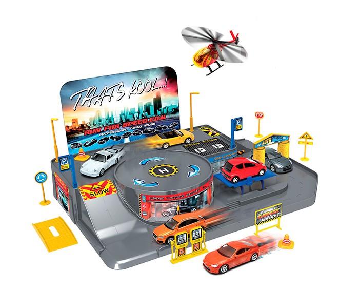 Welly Игровой набор Гараж: 3 машины и вертолет