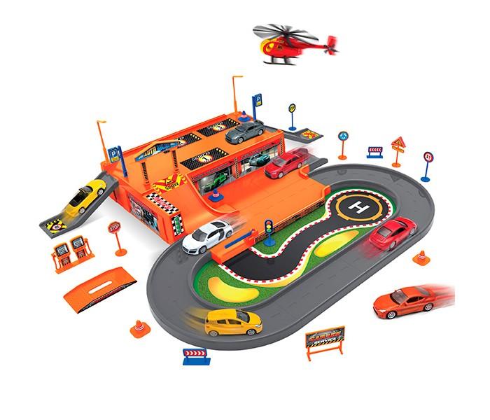 Машины Welly Игровой набор Гараж: 3 машины и 1 вертолет