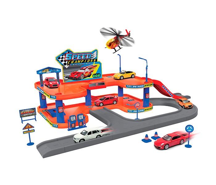 Машины Welly Игровой набор Гараж: 4 машины и вертолет брелок для машины рено