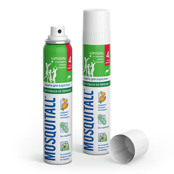 Средства от насекомых Mosquitall Аэрозоль от комаров Защита для взрослых 100 мл от комаров