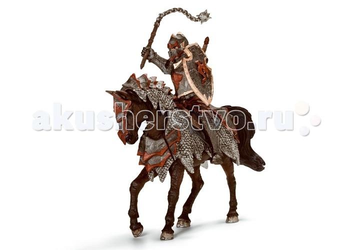 Игровые фигурки Schleich Игровая фигурка Рыцарь на коне с цепой Орден Дракона военная миниатюра атакующий английский рыцарь на коне