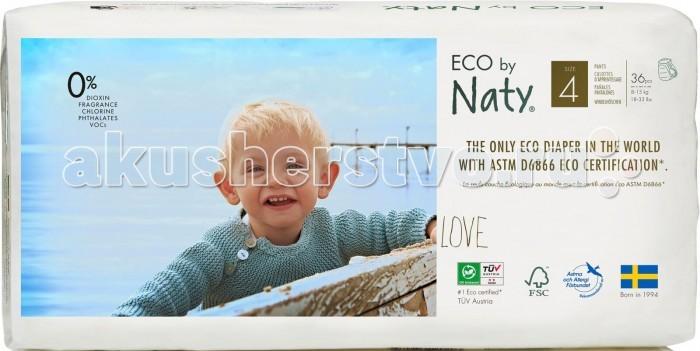 Подгузники Naty Подгузники-трусики Размер 4 (8-15 кг) 36 шт., Подгузники - артикул:261420