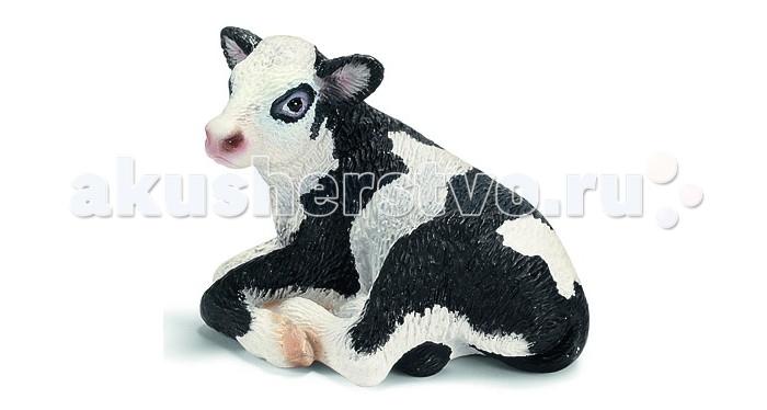 Игровые фигурки Schleich Игровая фигурка Гольштинский теленок лежит теленок черный ангус schleich