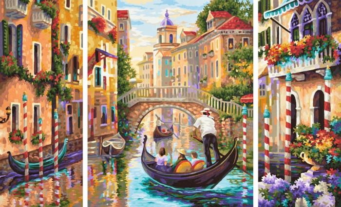 Schipper Картина по номерам Триптих Венеция Город в Лагуне 50х80 см
