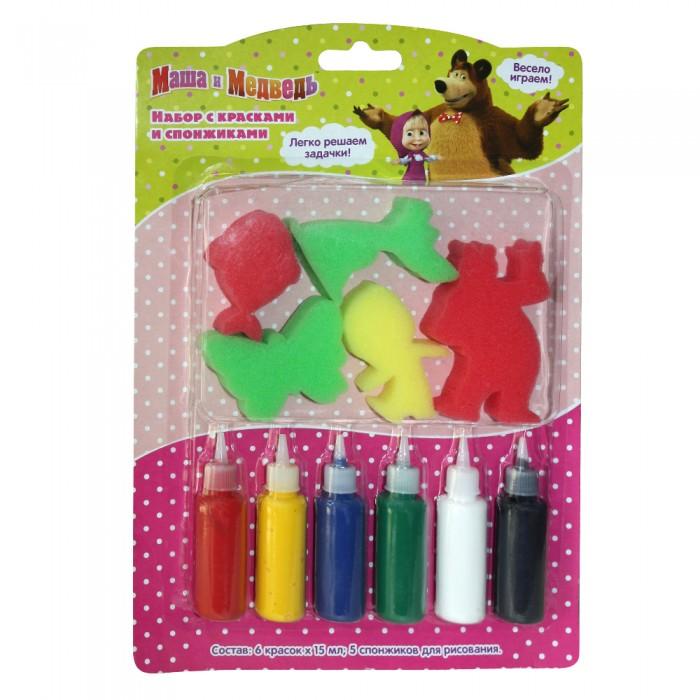 Краски Маша и Медведь Набор с красками и спонжиками 31075 краски маша и медведь набор для рисования рисуем с машей