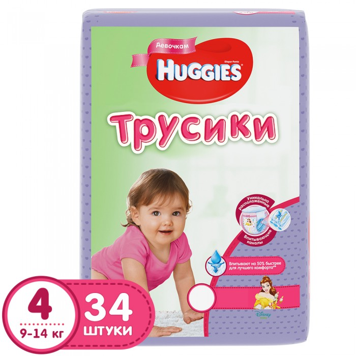 Подгузники Huggies Подгузники Трусики для девочек 4 (9-14 кг) 34 шт.