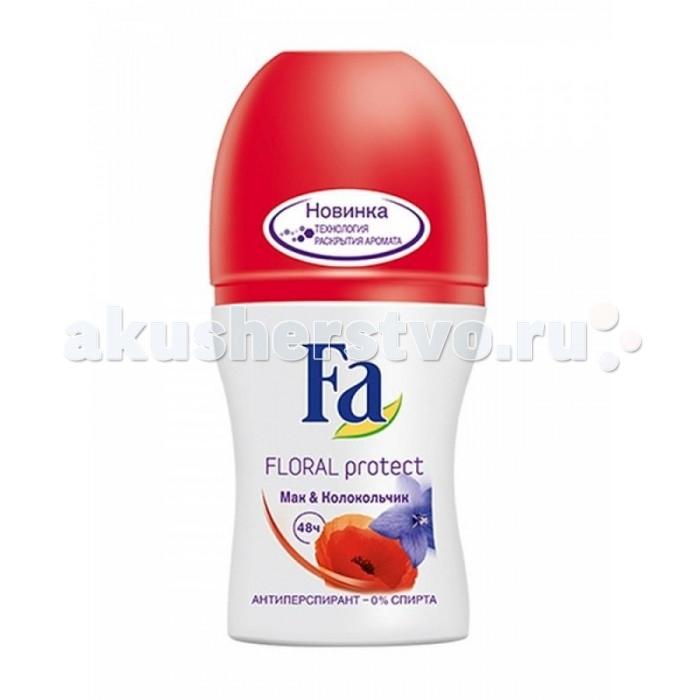 Косметика для мамы Fa Дезодорант-антиперспирант роликовый Floral Protect Мак & Колокольчик 50 мл дезодорант ролл 48 часов для женщин lavilin 65 мл hlavin