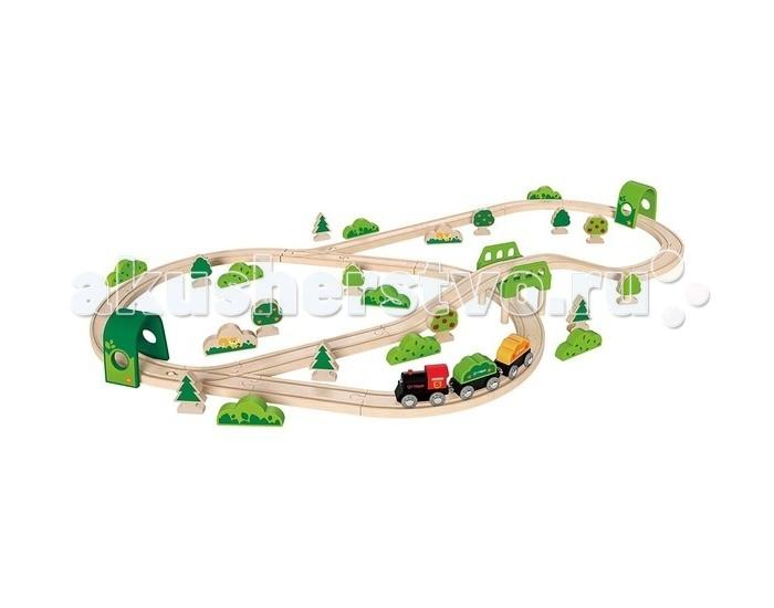 Hape Железная дорога E3713Железная дорога E3713Hape Железная дорога E3713 - мечта любого мальчишки!   Особенности: В игровой набор входит все необходимое для создания реальной картины из жизни в миниатюре и отлично поиграть одному или в компании друзей: рельсы, мостик, тоннель, грузовой состав, зеленые насаждения (всевозможные кусты и деревья). Вагоны крепятся друг к другу магнитными элементами, расположенными в передней и задней частях, что позволяет беспрепятственно отсоединять их, комбинировать по ходу игры  Кол-во деталей в наборе: 54 шт.<br>