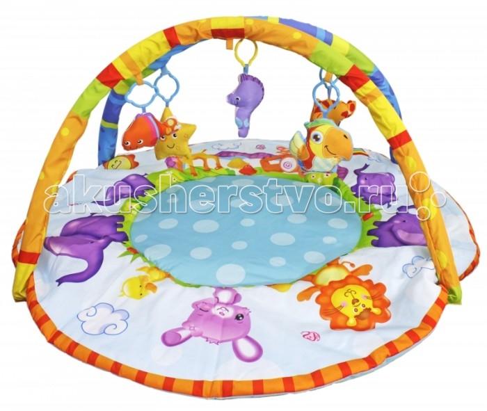Развивающий коврик S+S Toys с дугой Весёлые зверюшкис дугой Весёлые зверюшкиS+S Toys Игрушка для малышей BAMBINI Развивающий коврик с дугой Весёлые зверюшки подходит для малышей от 1 месяца. Этот коврик изготовлен из качественного текстиля, он очень мягкий и комфортный. Коврик не позволит скучать малышу, через него проходят перекрестные дуги, на которых подвешены мягкие игрушки, обладающие звуковыми эффектами.  Для полноценного развития нервной системы малыша, его органы чувств должны получать достаточно стимулов. Игровой коврик Подводный мир предоставляет идеальную среду для этого: подвесные игрушки способствуют развитию фокусировки взгляда новорожденных, и мелкой моторики, когда ребенок будет пытаться дотронуться до игрушки. А еще они так забавно пищат при нажатии!<br>